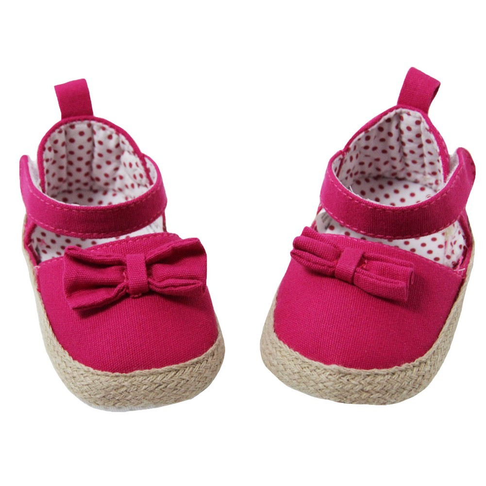 Baby Girls Hot Pink Khaki Canvas Bow Adorned Espadrille Lined Sandals 0-18M