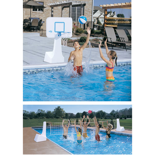 Dunnrite PoolSport 2 in 1 Pool Basketball Hoop and Volleyball Combo Set