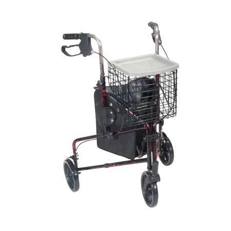 Drive Medical 3 Wheel Walker Rollator With Basket Tray And Pouch  Flame Red