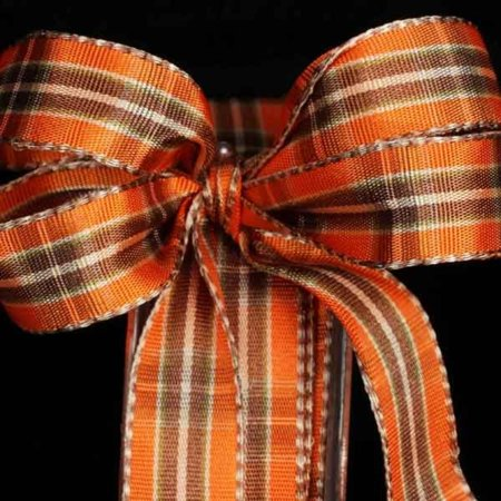 "Harvest Orange, Brown and Ivory Woven Wired Narrow Plaid Stripes Craft Ribbon .63"" x 22 Yards"
