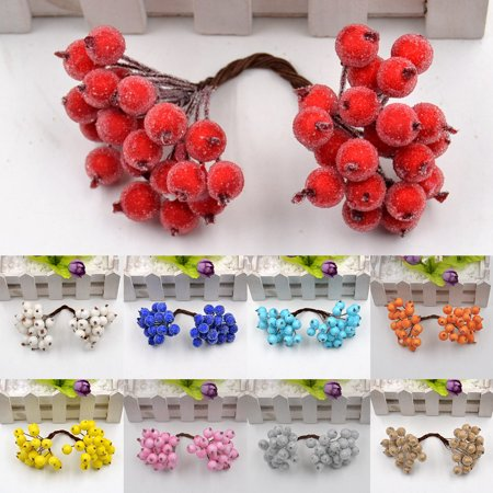 HiCoup 20Pcs Foam Artificial Frosted Berry Wedding Christmas Party Garland DIY - Diy Christmas Garland