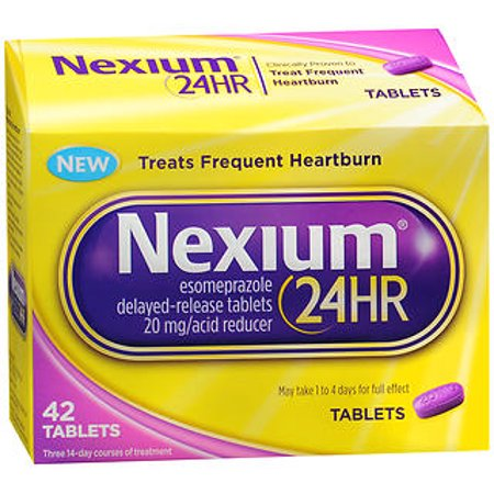 Nexium 24HR Tablet (20mg, 42 Ct) Delayed Release Heartburn Relief Tablets, Esomeprazole Magnesium Acid (Best Heartburn Medicine During Pregnancy)