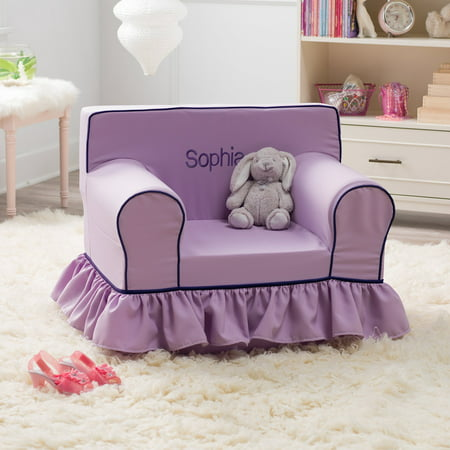 Groovy Here And There Personalized Kids Ruffle Chair Lavender Canvas Creativecarmelina Interior Chair Design Creativecarmelinacom