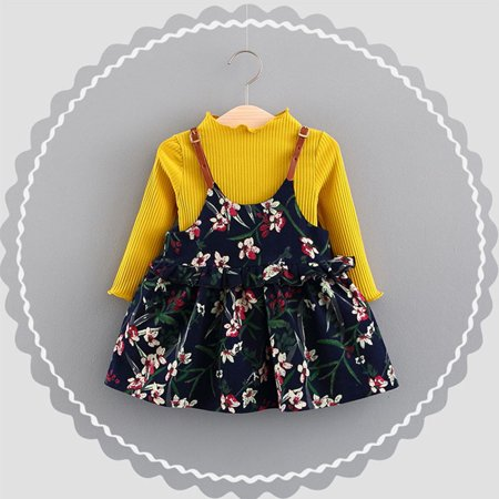 BOBORA 2Pcs Autumn Newborn Kid Baby Girl T-shirt Sweater Tops+ Floral Dress Outfit Clothes Set