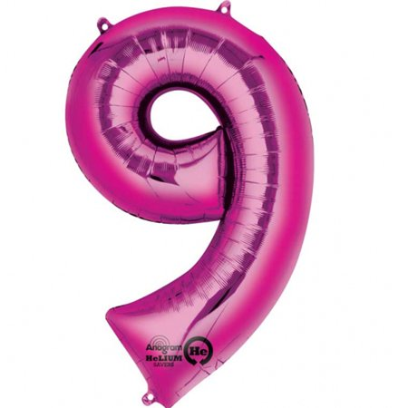Mylar Pink Number Balloons (Each) - Size Number 9 (Mylar Number)