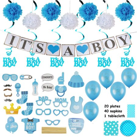 Baby Shower Decorations for a Boy :Over 100 Pieces in Kit :Elegant Blue Décor with Hanging Banner, Balloons, Props, Flower Pom Poms, Swirlers, Napkins, Plates & Table Cover
