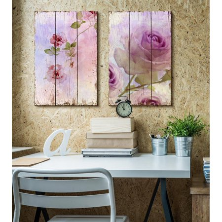 wall26 Lilac Colored Roses on a Beautiful Watercolored Wooden Background - Canvas Art Home Decor - 24x36 inches - Buy Wooden Roses