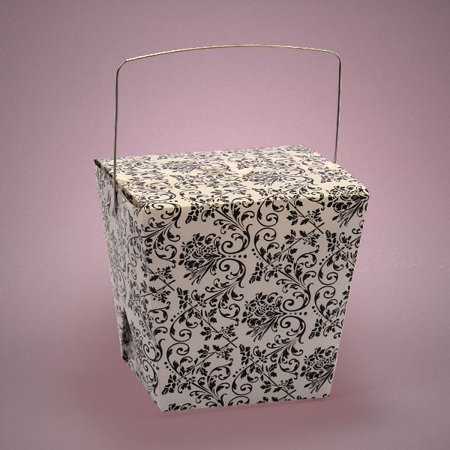 Damask Party Favors (White Black Damask Floral 4 x 3-1/2 x 4 inches Plastic Wire Handle Chinese take Out Favor Boxes, 12)