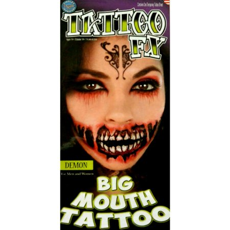 Tinsley Halloween Costume Makeup Demon Big Mouth Temporary Tattoo - Simple Cute Halloween Makeup