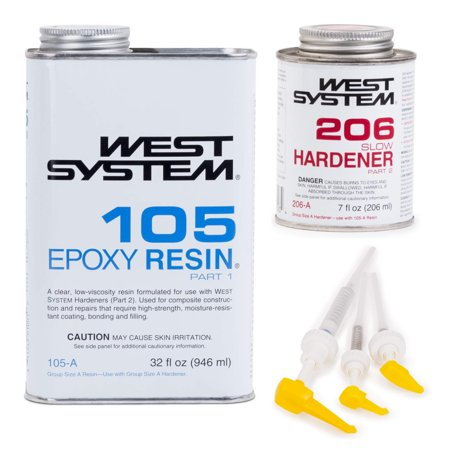 West System 105 Epoxy Resin w/ 206 Slow Epoxy Hardener+300 Mini Pumps Set