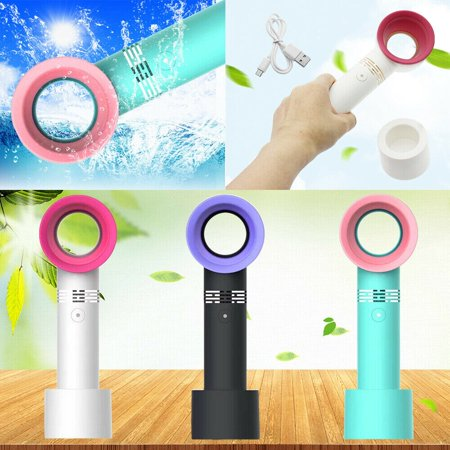 360 Degrees Mini Handheld Fan USB Rechargeable Fan No Blade Silent Electric Fans Table Handheld Personal Portable Bladeless Small Cooling Fan for Office Home Desk Travel Camping Summer