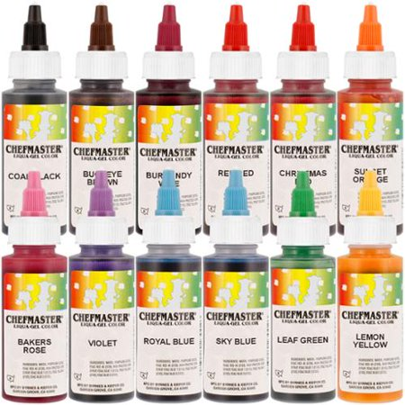 Chefmaster by US Cake Supply 2.3-Ounce Liqua-Gel Cake Food Coloring ...