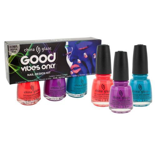 China Glaze .5oz 3 Color Set Nail Polish Lacquer Good Vibes Only, 82626