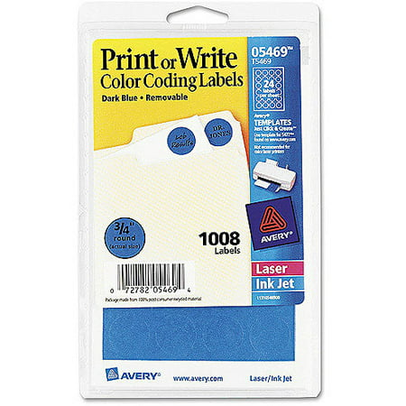 (4 Pack) Avery Printable Removable Color-Coding Labels, 3/4