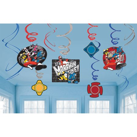 Power Rangers Hanging Foil Swirl Decorations (6 Piece) - Party Supplies - Power Rangers Party Decorations