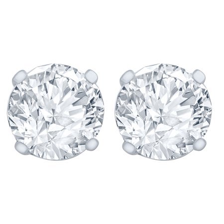 1/4 Carat Diamond Stud Earrings (I1I2 Clarity, IJ Color) 14kt White Gold