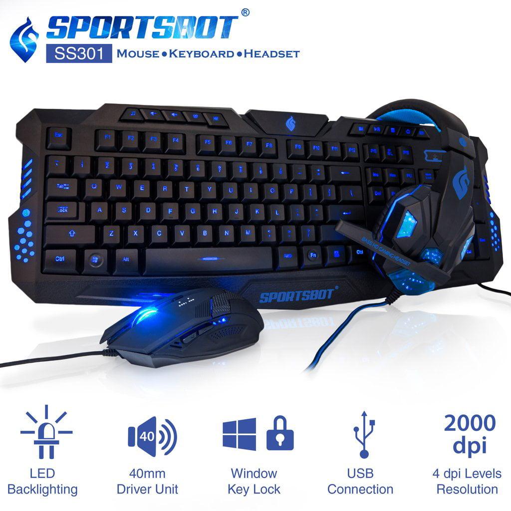 3.5mm Gaming Headset Headphones /& LED Gaming Keyboard Gaming Mouse Pad Set