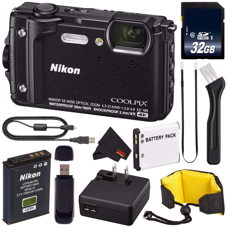 Nikon COOLPIX W300 Digital Camera (Black) 26523 International Model + EN-EL12 Replacement Lithium Ion Battery + 32GB SDHC Class 10 Memory Card + SD Card USB Reader + Nikon Floating Strap Bundle