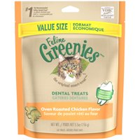 Feline Greenies Dental Natural Cat Treats, Oven Roasted Chicken Flavor (Various Sizes)