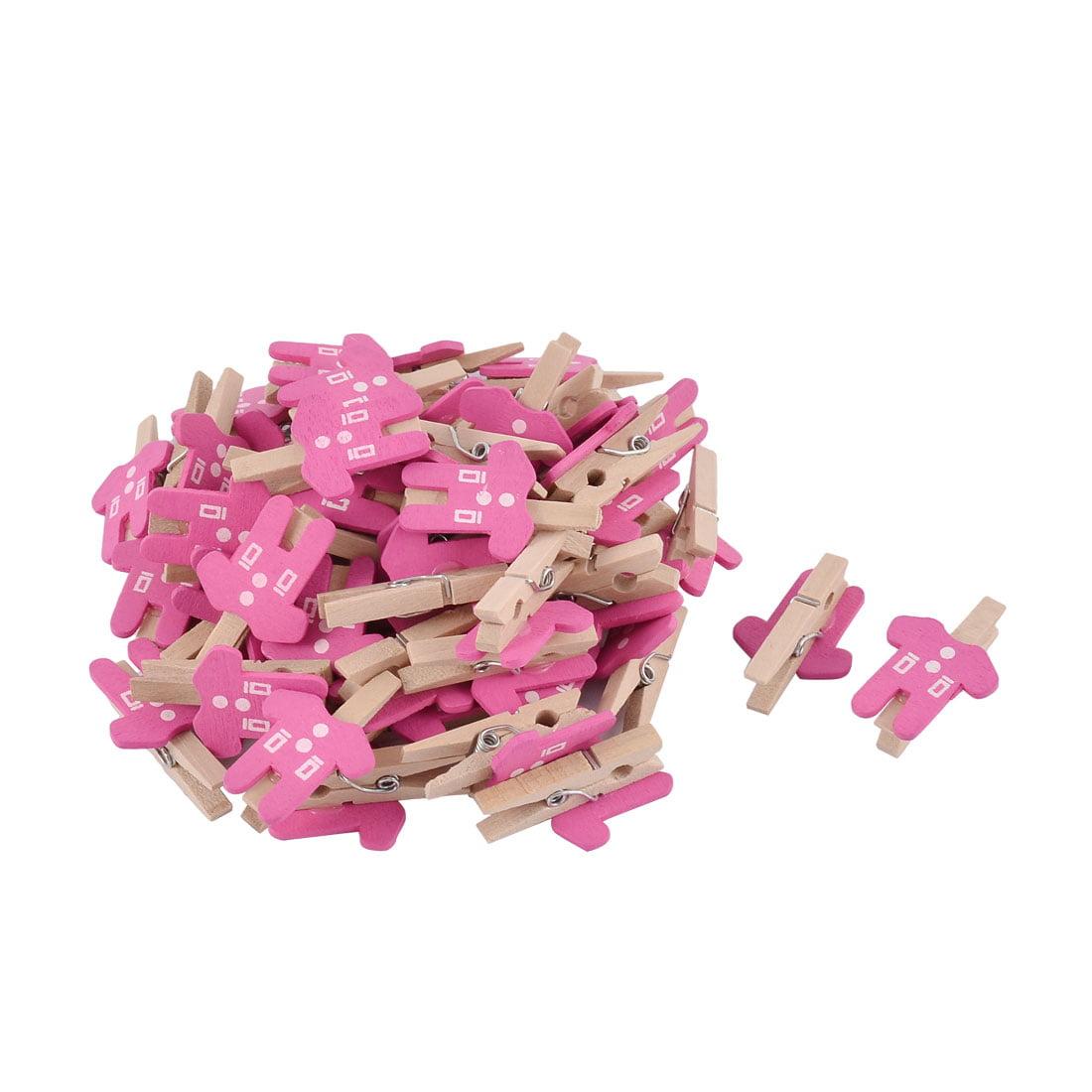Card Photo Paper Clothes Shape Crafts  Wooden Clip Peg Fuchsia 50pcs
