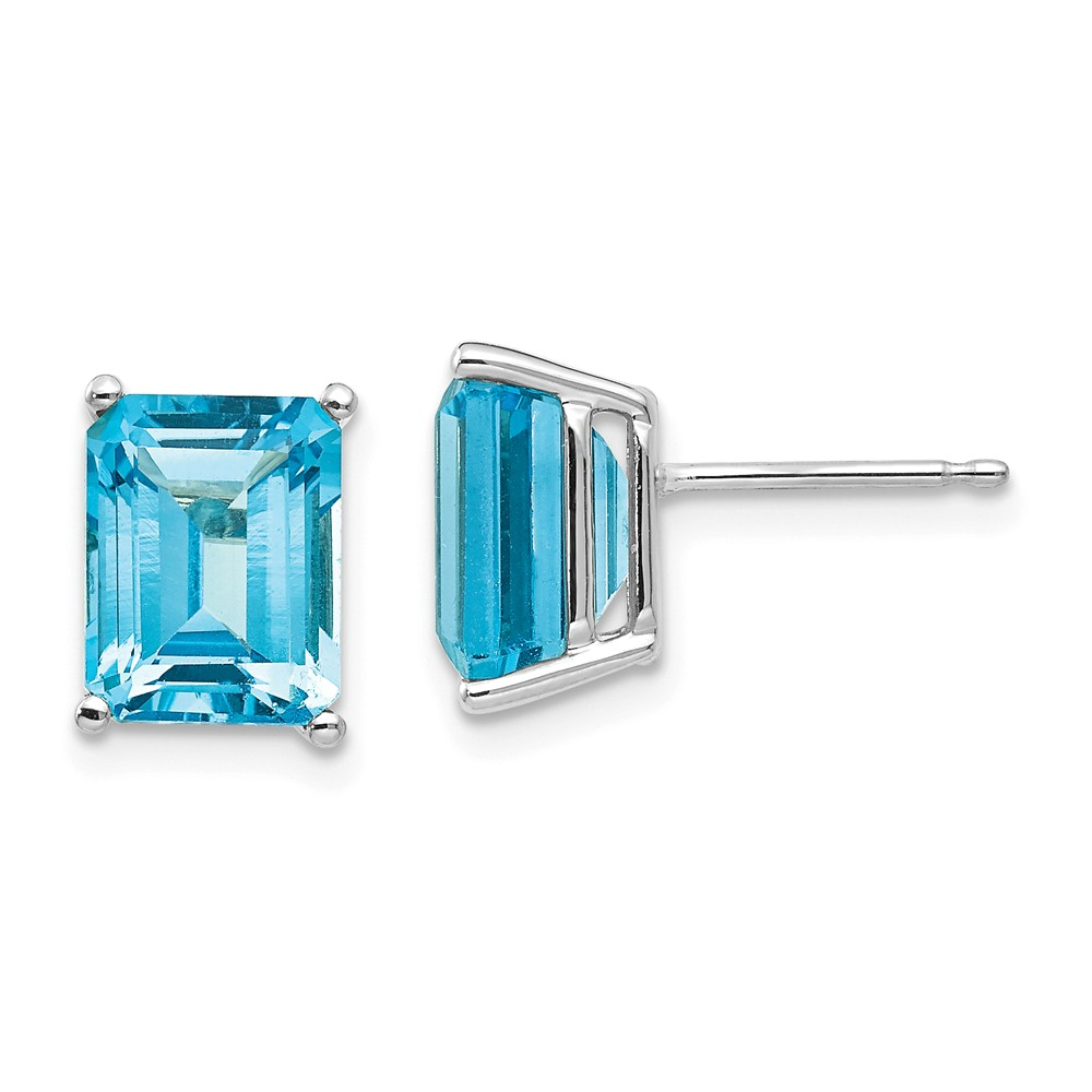 14k White Gold 9x7mm Emerald Cut Blue Topaz Earrings. Gem Wt- 6ct