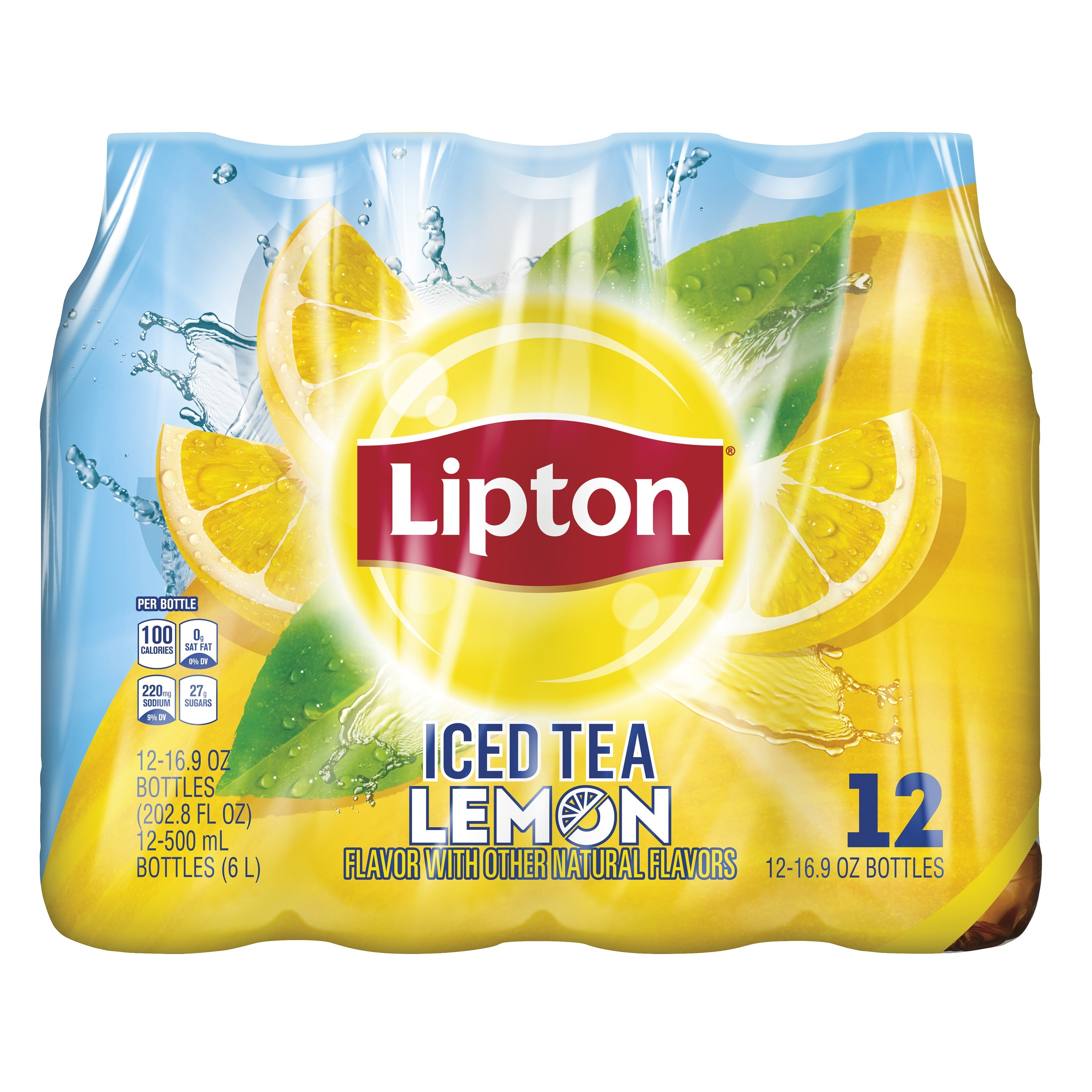 (2 Pack) Lipton Iced Tea, Lemon, 16.9 oz Bottles, 12 Count