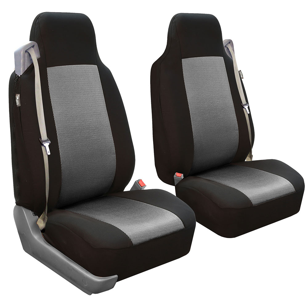 FH Group Integrated / Built-In Seatbelt Compatible High Back Seat Covers, Gray and Black, 2 Pack