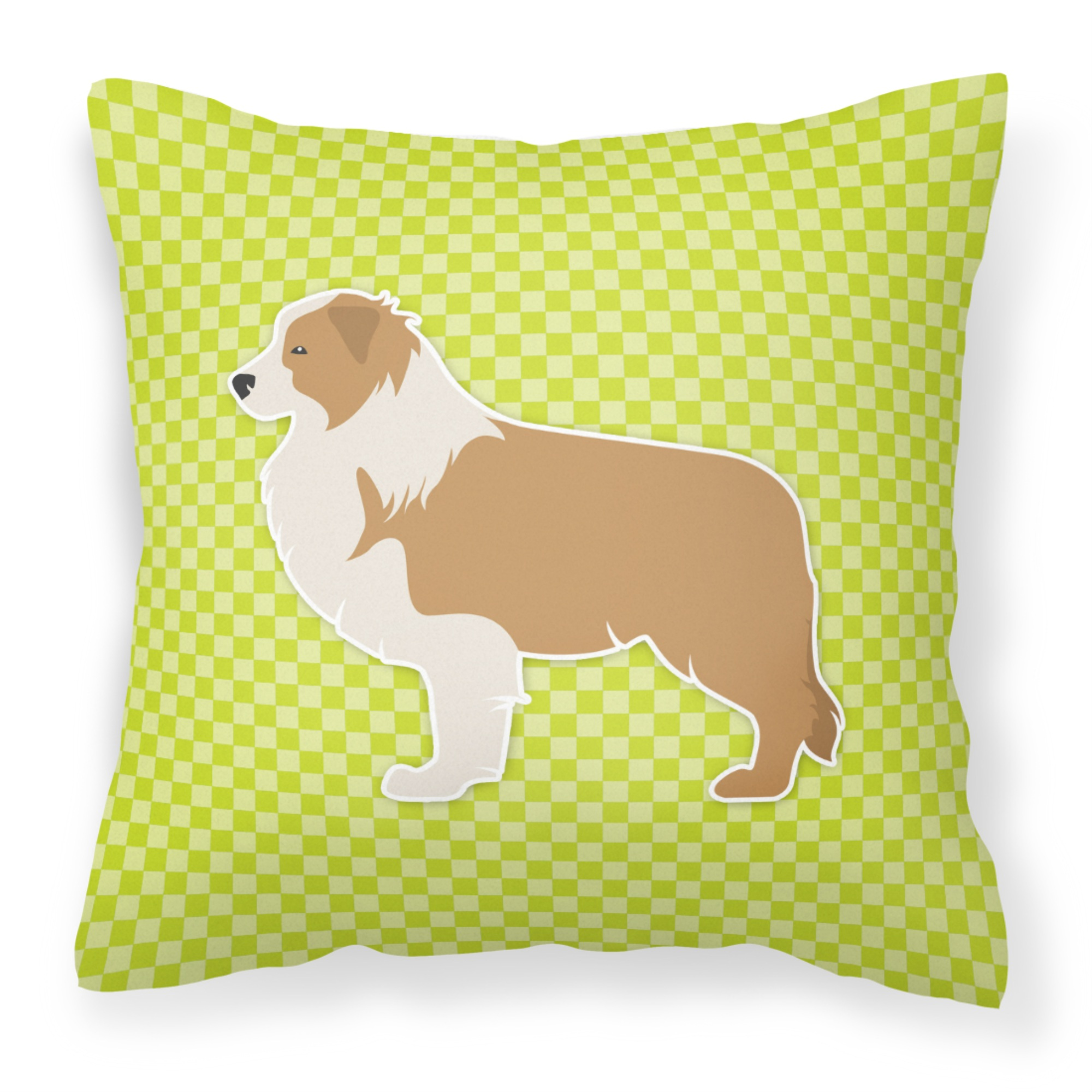 Red Border Collie Checkerboard Green Fabric Decorative Pillow Walmart Com Walmart Com