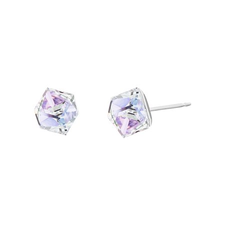 Art Glass Cube Earrings (Lesa Michele Women's Faceted Crystal Cubed Stud Earrings in Stainless Steel Made With Swarovski Crystals (Color: Vitrail Light) )