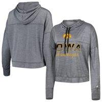 Women's Russell Athletic Heathered Gray Iowa Hawkeyes Cropped Long Sleeve Mock Neck Hoodie