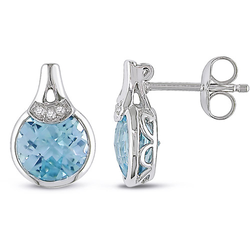 3-4/5 Carat T.G.W. Blue Topaz and Diamond Accent Drop Earrings in Sterling Silver