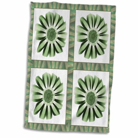 Abilene Sage - 3dRose Four green striped flowers with green and sage flower petal border - Towel, 15 by 22-inch