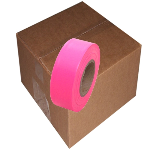 12 Roll Case of Fluorescent Pink Flagging Tape 1 3/16 inch x 150 ft Non-Adhesive