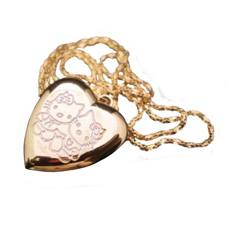 Glass Gold Foil Heart Pendant - Hello Kitty Heart Shape Goldtone Anti-Tarnish Locket Necklace Watch, HK-H