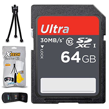 64GB SD Memory Card (High-Speed) + Xtech Starter Kit for Nikon Cameras including Nikon Coolpix W300, W100, A300, A900, A10, A100, AW130, S33, S9900, S5700, S6900, S3700, S2900 A10 Memory Card