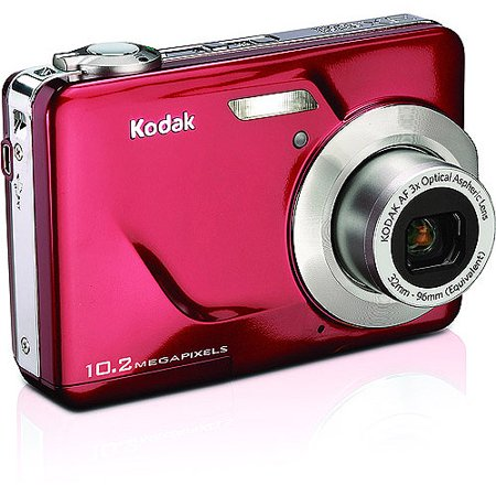 Kodak EasyShare C180 Red 10.2MP Digital Camera with 3x Optical Zoom, Blur Reduction Kodak EasyShare Digital Camera:10.2 megapixel resolutionMake beautiful large prints or easily crop your photos3x optical zoom and 5x digital zoomGet in close and capture crisp, clear shots 2.4  LCD screenWith high contrast and brightness, this bright screen of this Kodak camera lets you compose, preview and review your shotsKodak Perfect Touch technologyMake better, brighter, more vivid pictures right on the Kodak digital cameraAdditional Kodak Camera FeaturesTake stunning HD picturesReduce blur caused by camera shake or subject movement with blur reduction Advanced Kodak camera video features include auto capture, playback, on-camera editing and prints from videoGet the right shot-manually select from the multiple scene and color modesFor terrific shots of friends and family, face detection locates faces and automatically adjusts the camera settingsAchieve your perfect shot with on-camera picture-enhancing features like cropping and undo-deleteThe Kodak EasyShare Digital Camera helps you capture the details in low-light conditions and fast-action situations with high ISO (up to 1000)Add text tags to your pictures and easily find and organize them later using multi-field searchTwo-shot self-timerVGA video (640x480) @30 fps Internal memory plusKodak Alkaline AA Batteries