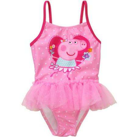3cf9efb207 Peppa Pig - Peppa The Pig Toddler Girl Tutu Swimsuit - Walmart.com