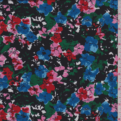 Black Multi Floral Garden Print Charmeuse, Fabric By the Yard