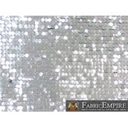 """Sequin NEW Paillette Glossy Dangle Mesh SILVER Fabric / 52"""" W / Sold by the yard"""