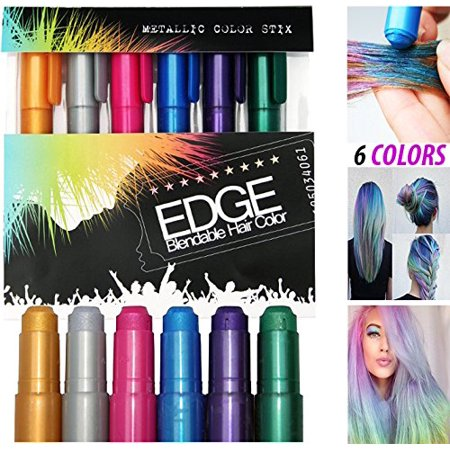 Hair Coloring Temporary Hair Shimmer Metallic Chalk. Fun for All Ages!!!! Glides on Easy Applicator. No Mess. Vibrant Colors in Dark and Light Hair Colors](Temporary Colored Hair Dye)