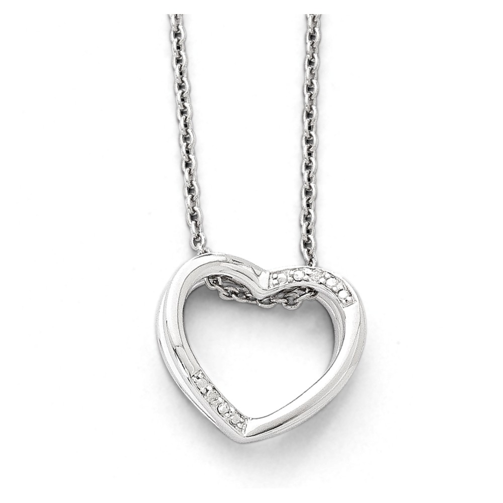 Sterling Silver White Ice Diamond Heart 18in Necklace. Carat Weight- 0.01ct