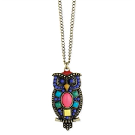 Owl Jewelry (Zad Jewelry Wise Owl Colorful Pendant Long Necklace, Antique)
