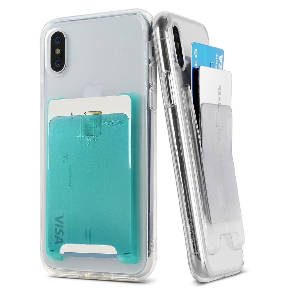Ringke Slot Card Holder [Jewel Series] [Turquoise Blue] Minimalist Slim Hard PC Transparent Mini Clip ID Adhesive 3M Stick On Credit Card Accessory Attachment for iPhone, Galaxy, LG, Google