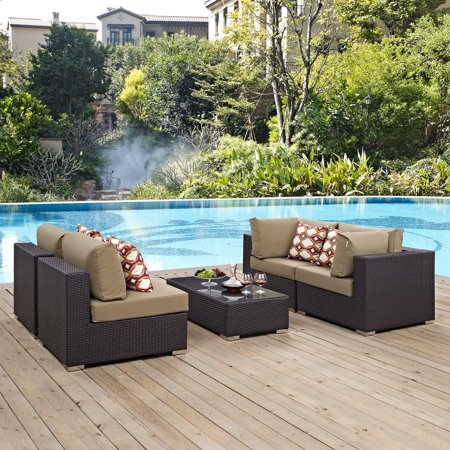 Convene 5pc Outdoor Patio Sectional Set - Mocha - Modway