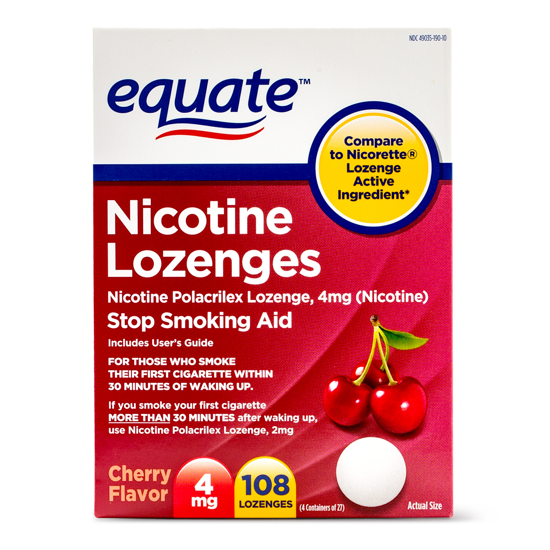 Equate Nicotine Lozenges Stop Smoking Aid Cherry Flavor, 4 mg, 108 Ct