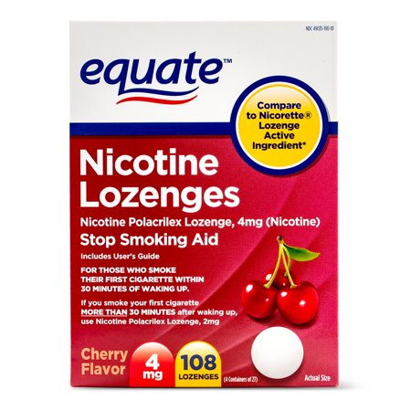 4 Mg Nicotine Lozenges - Equate Nicotine Lozenges, Cherry Flavor, 4 mg, 108 Count