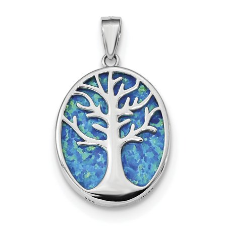 925 Sterling Silver Rhodium-plated Created Opal Tree of Life Oval (16.5x27.5mm) Pendant / Charm