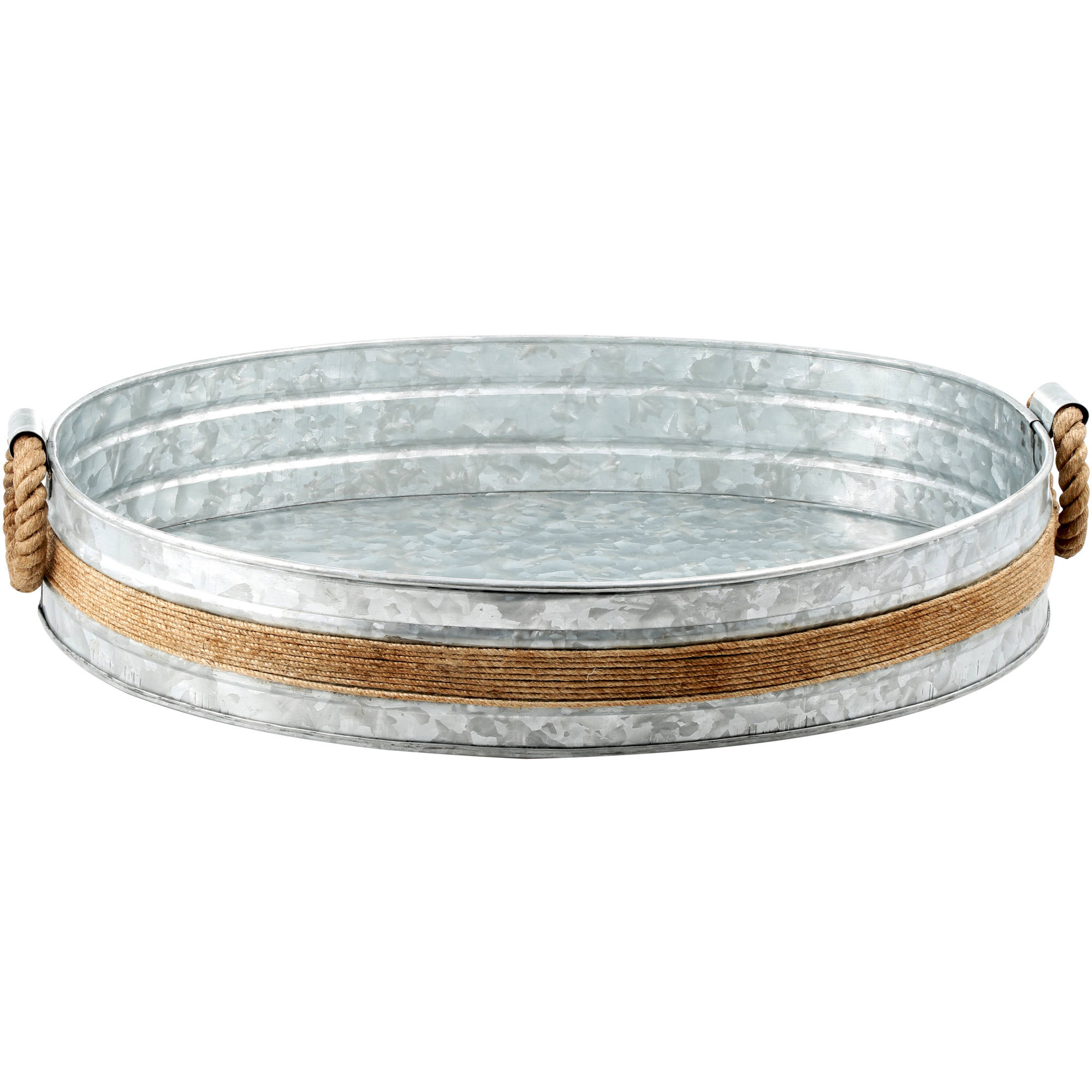 Click here to buy Cambridge Shiloh Galvanized and Rope Bar Tray by Cambridge.