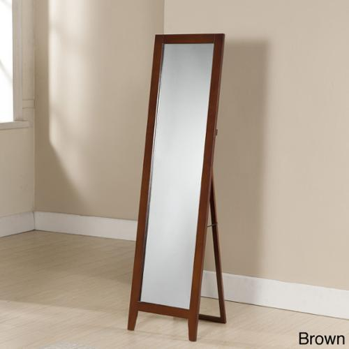 Standing Wood Rectangle Mirror Brown