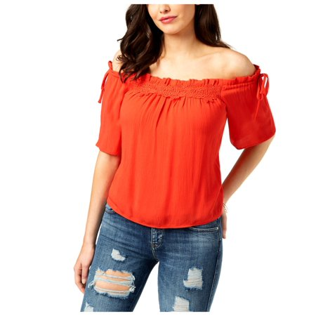 Guess Womens Bellatrix Off-The-Shoulder Ruffled Blouse Red XL